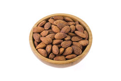 Seed of Bowl with almonds isolated on white background Royalty Free Stock Photos