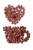 Coffee bean pure isolated shpae arranged Royalty Free Stock Photos