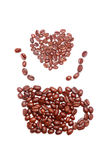 Coffee bean pure isolated shpae arranged Stock Images