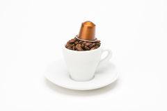 Seed of coffee with capsule Stock Photography