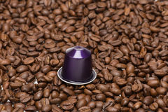 Seed of coffee with capsule Royalty Free Stock Images
