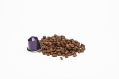 Seed of coffee with capsule Stock Image