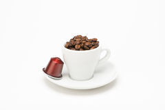 Seed of coffee with capsule Stock Photos