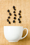 Seed coffee and cup coffee Royalty Free Stock Image