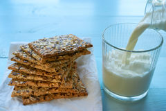 Seed cookies with milk Stock Images