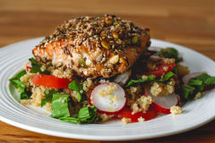 Seed crusted salmon fillet  Stock Image