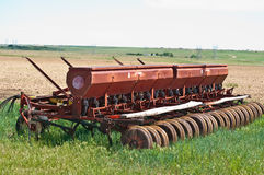 Seed drill after planting Stock Photo