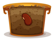 Seed germination in clay pot. Illustration stock illustration