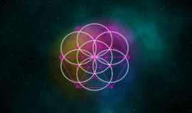 Seed of life and equilibrium signs on galaxy background. Seed of life and equilibrium signs glowing on galaxy illustration design background Royalty Free Stock Image