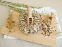 Seed mixture with rolled oats, flaxseeds and sesame Royalty Free Stock Image