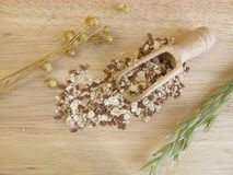 Seed mixture with rolled oats, flaxseeds, and sesame Royalty Free Stock Photos