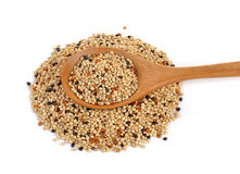 Seed mixture in the wood spoon isolated on white background. Pe Royalty Free Stock Photo