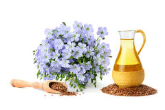 Seed oil and flax flowers Stock Images