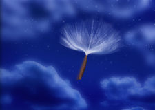 Seed Parachute Pod Wind. A seed pod with a parachute sailing through a night sky Stock Image