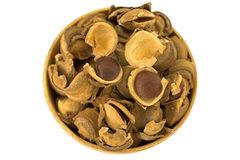 Seed and shell covers of Sacha inchi peanut, capsult fruit nut i Royalty Free Stock Photography
