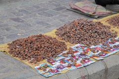Seed and Vegetable on ground for sell. In Traditional market in Main Bazar in Leh City, India royalty free stock photos