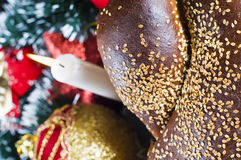 Seeded loaf in Christmas scene Royalty Free Stock Photo