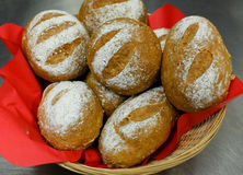 Seeded spelt rolls with honey. Close up of seeded spelt bread rolls in a basket. Spelt rolls with honey, Sunflower seeds and Lupin seeds Royalty Free Stock Image
