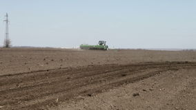Seeder sowing and went away stock video