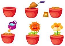 Seeding icons. Illustration of isolated set of seeding icons on white background Royalty Free Stock Images
