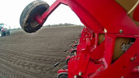 Seeding machine in operation stock video footage