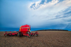 Seeding machine on the uncultivated field Royalty Free Stock Photography