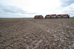 Seeding machines at field Stock Photography