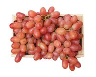Seedless grapes. In crate isolate on white Stock Photos