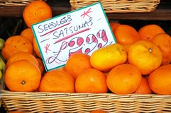 Seedless satsumas for sale. royalty free stock images