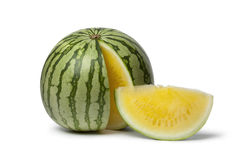 Seedless yellow watermelon Royalty Free Stock Photo
