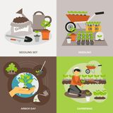 Seedling Flat Set Royalty Free Stock Images