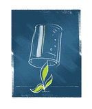Seedling plant protected with a glass Stock Photography
