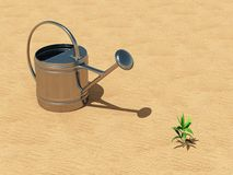 Seedling with watering can in the desert Royalty Free Stock Photos