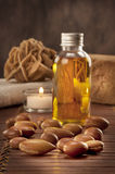 Seeds of argan with light and soap Stock Images