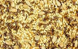 Seeds background - pumpkin, sunflower, flax, sesame stock image