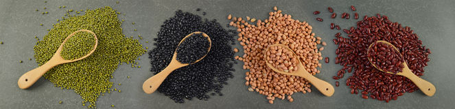 Seeds beansBlack Bean, Red Bean, Peanut and Mung Bean useful for health in wood spoons on grey background.  Stock Images