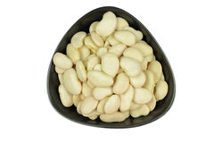 Seeds Big Lima (Butter) bean in pottery bowl. Stock Images