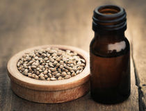 Seeds of Cannabis or hemp with essential oil in bottle. On timber surface Stock Photos