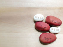 Seeds of Carving bean letter. Expressing feelings With the words carved on the bean Stock Photography