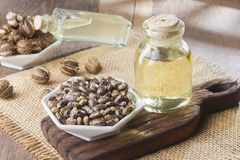 Seeds and castor oil on the wooden table - Ricinus communis.  stock photos