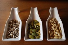 Seeds in ceramic containers Royalty Free Stock Photo