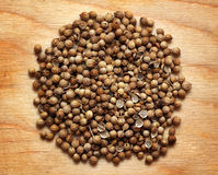 Seeds of coriander macro on wooden board Royalty Free Stock Image