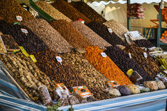 Seeds and dry fruits stand Stock Image