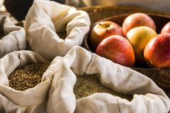 Seeds and fruit. In traditional market Royalty Free Stock Images