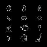 Seeds and gardening icons set Royalty Free Stock Image