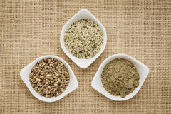 Seeds, hearts and hemp protein Stock Images