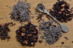 Seeds of lavender and dried fruits Royalty Free Stock Photo