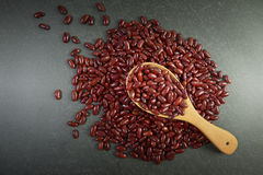 Seeds red beans useful for health in wood spoons on grey background Stock Photos