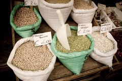 Seeds for sale. In italian market stock photography