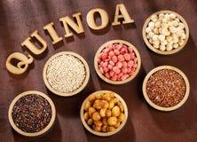 Seeds of white, red and black quinoa - Chenopodium quinoa royalty free stock photo